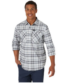 Wrangler ATG Men's All-Terrain Grey Plaid Hike-To-Fish Long Sleeve Button-Down Western Shirt , Grey, hi-res