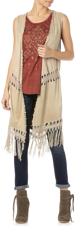 Miss Me Women's Oh Mayan Fringe Vest, Taupe, hi-res