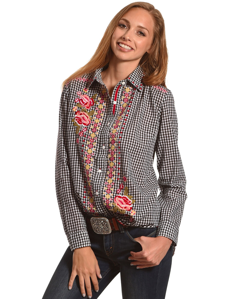 New Direction Sport Women's Black Floral Gingham Shirt , Black, hi-res