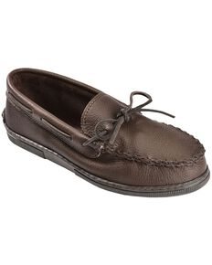 Men's Minnetonka Moosehide Classic Moccasins - Wide, Chocolate, hi-res