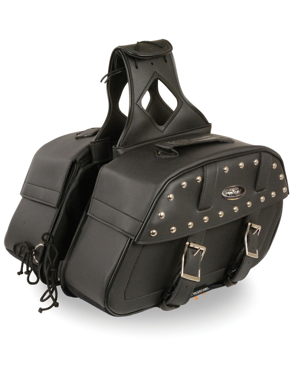 Milwaukee Leather Zip-Off Studded Throw Over Rounded Saddle Bag, Black, hi-res