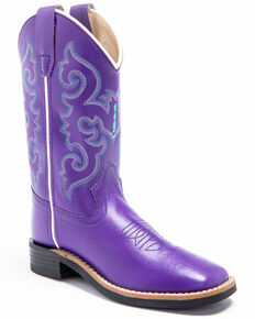 Shyanne Girl's Leatherette Western Boots - Wide Square Toe, Purple, hi-res