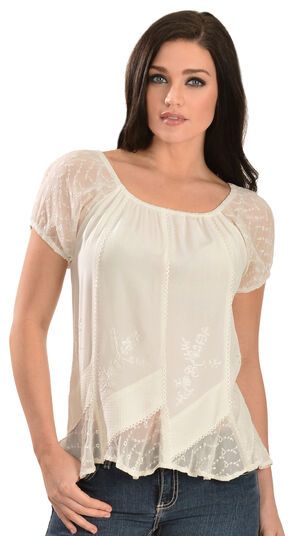 Scully Peasant Style Top, Ivory, hi-res