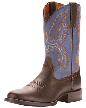 Ariat Men's Sport Stratton Western Boots - Round Toe, Dark Brown, hi-res