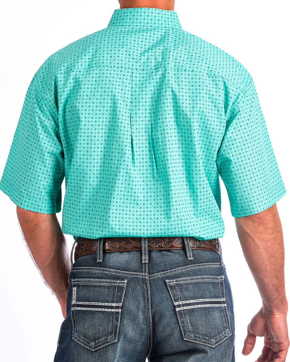 Cinch Men's Turquoise Print Short Sleeve Button Down Shirt, Turquoise, hi-res