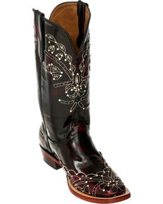 Ferrini Black Cherry Wild Diva Cowgirl Boots - Square Toe, Black Cherry, hi-res