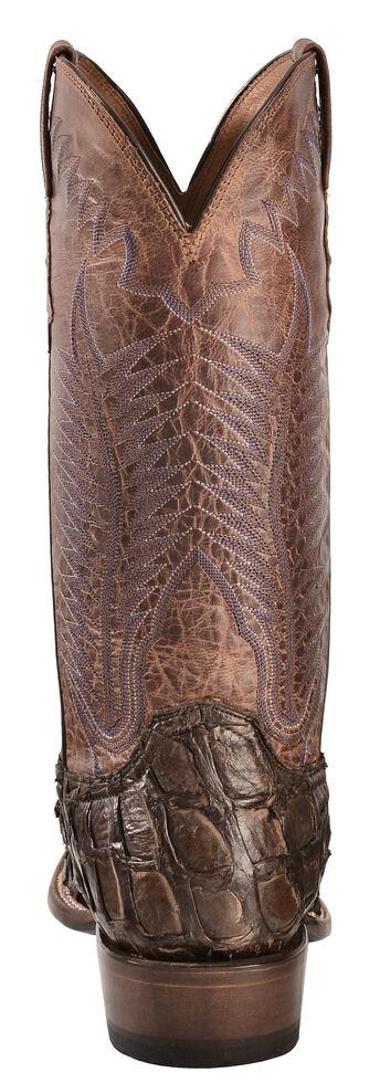 Lucchese Handmade Chocolate Brown Brooks Pirarucu Cowboy Boots - Square Toe , Chocolate, hi-res