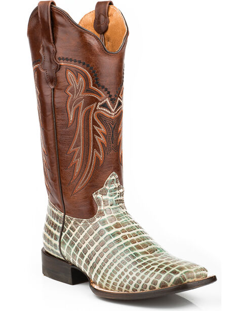 Roper Women's Embossed Crocodile Cowgirl Boots - Square Toe, Multi, hi-res