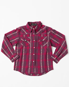 Shyanne Toddler-Girls' Plaid Woven Snap Long Sleeve Shirt, Burgundy, hi-res