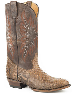 Stetson Men's Brown Snake Eyes Python Boots - Medium Toe , Brown, hi-res