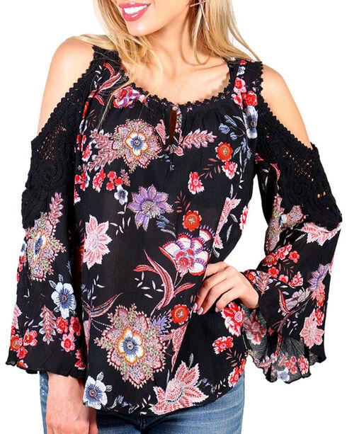 Bila Women's Floral Cold Shoulder Peasant Top, Black, hi-res
