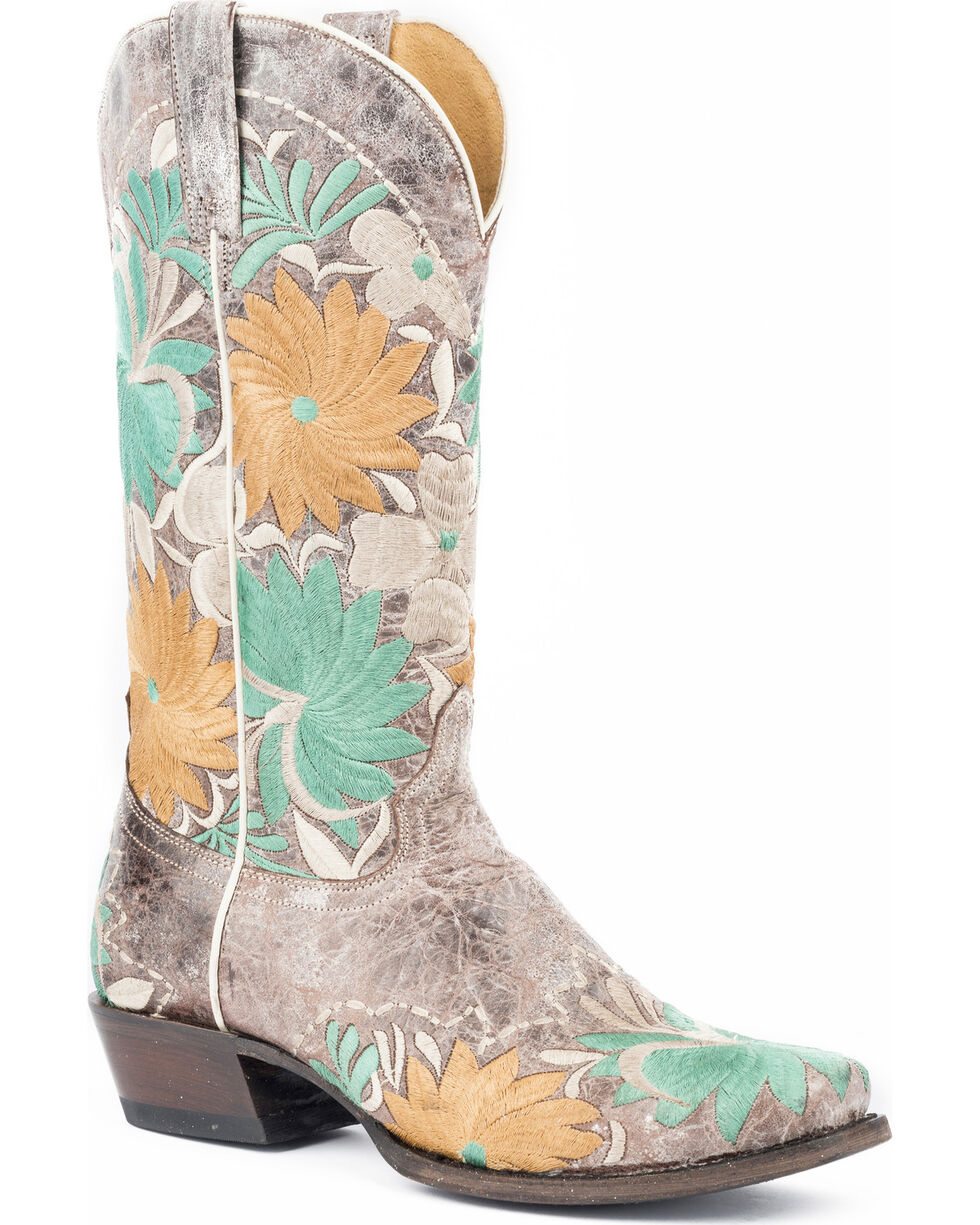 Roper Women's Floral Bouquet Embroidered Cowgirl Boots - Square Toe, Brown, hi-res