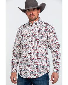 076ec155 Roper Mens Floral Hawaiian Print Long Sleeve Western Shirt , Grey, hi-res