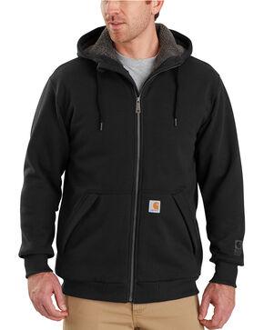 Carhartt Men's Rain Defender Rockland Sherpa-Lined Full-Zip Hooded Sweatshirt - Big & Tall, Black, hi-res