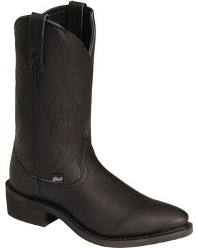 Justin Ranch & Road Cowboy Work Boots - Medium Toe, Black, hi-res