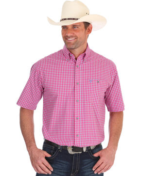 Wrangler 20X Men's Pink Plaid Competition Advanced Comfort Short Sleeve Shirt , Pink, hi-res