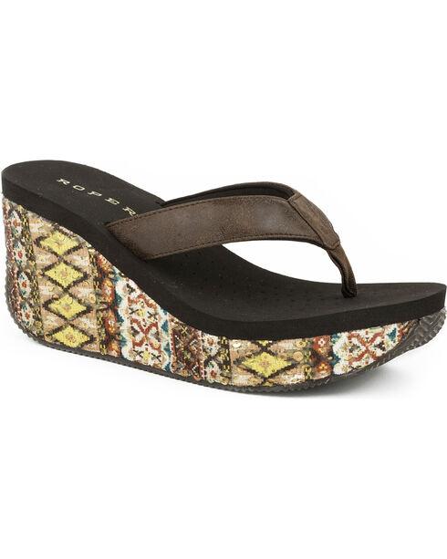 Roper Women's Brown Aztec Wrap Wedge Sandals , Brown, hi-res