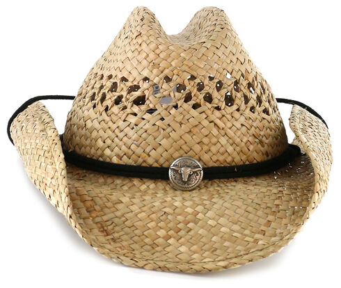 Cody James Men's Longhorn Concho Straw Cowboy Hat, Natural, hi-res