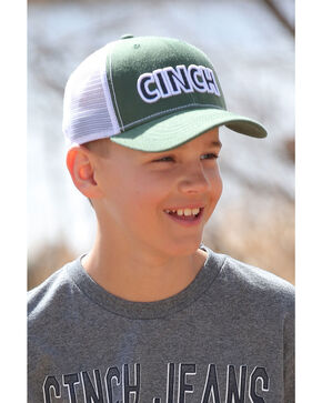 Cinch Boys' Green Logo Trucker Cap, Green, hi-res