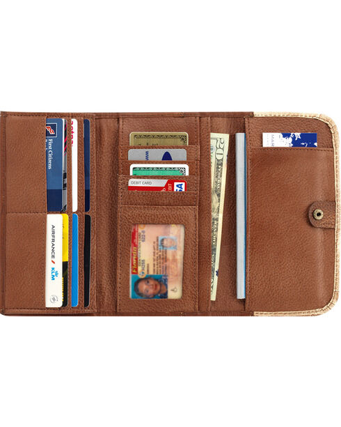 American West Women's Distressed Charcoal Brown Annie's Secret Tri-Fold Wallet , Brown, hi-res