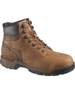 "Wolverine Men's 6"" Gear Waterproof Work Boots - Composite Toe, Brown, hi-res"