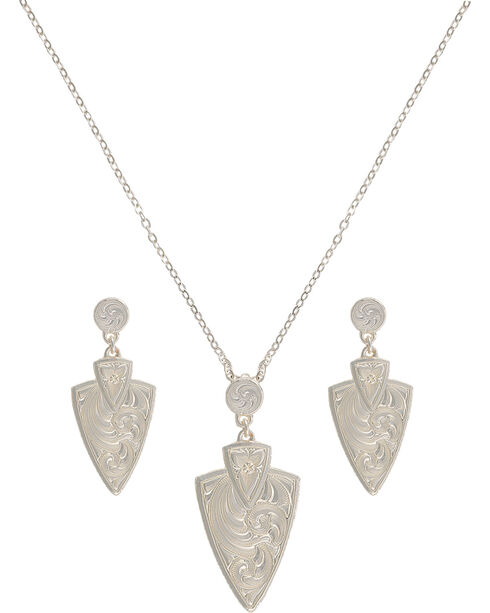 Montana Silversmiths A Keen Pursuit Arrowhead Jewelry Set, Silver, hi-res