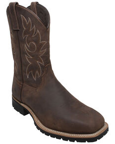 Ad Tec Men's Brown Western Work Boots - Steel Toe, Brown, hi-res