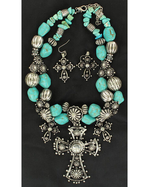 Blazin Roxx Three Cross and Turquoise Stone Beaded Necklace & Earrings Set, Silver, hi-res