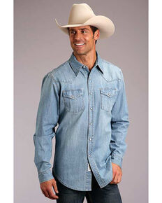 Stetson Men's Original Rugged Light Washed Denim Long Sleeve Western Shirt , Blue, hi-res