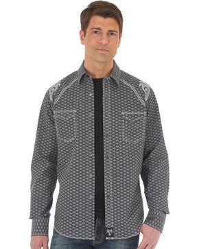 Wrangler Rock 47 Men's Diamond Pattern Two Pocket Snap Shirt - Big & Tall, Black, hi-res