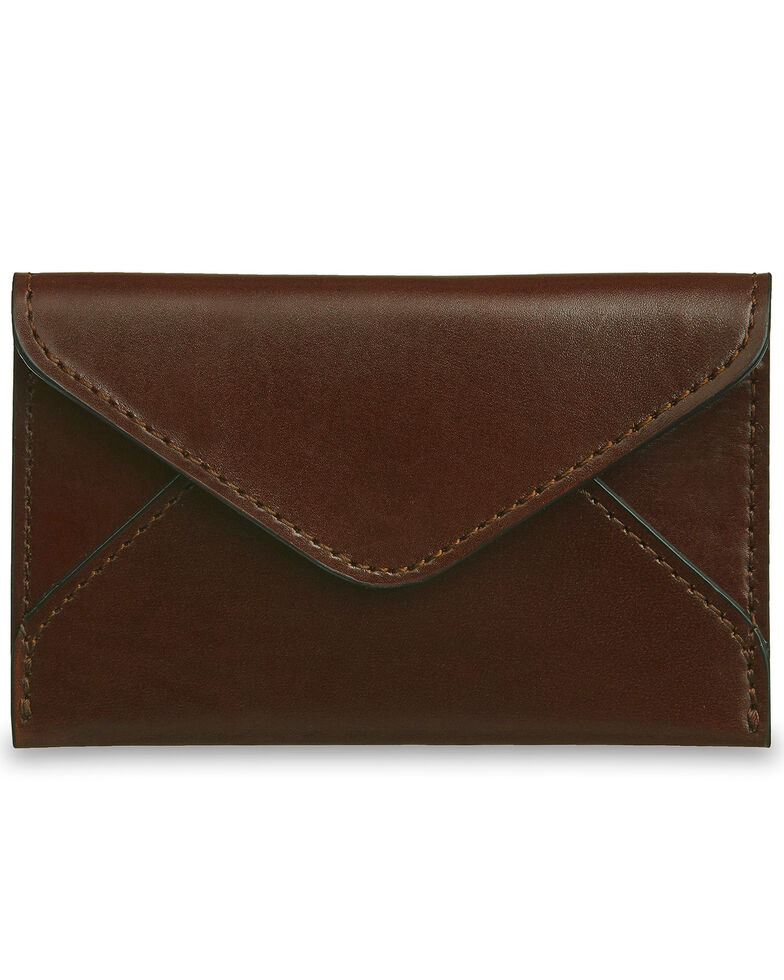 lucchese mens sienna leather business card case brown hi res - Leather Business Card Case
