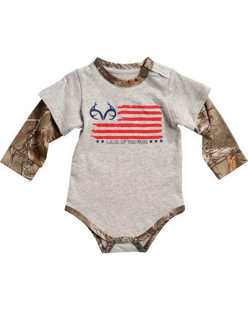 Realtree Infants' Camo Layered Onesie, Grey, hi-res