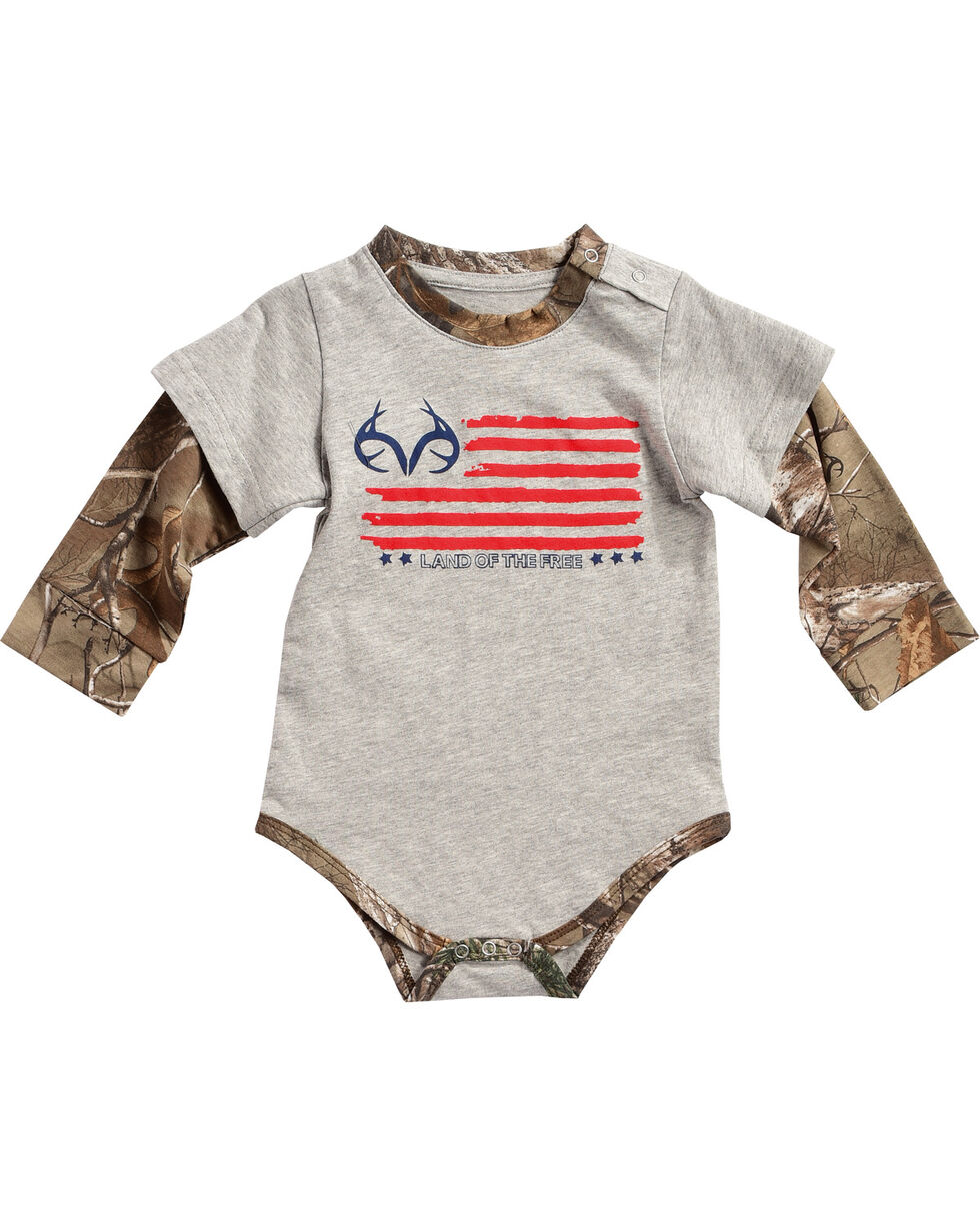 Realtree Infants' Camo Layered Onesie, Grey, hi-res