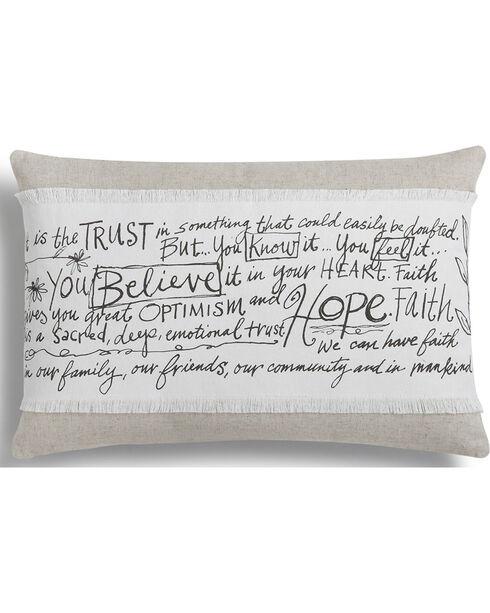 Demdaco White Poetic Threads Believe Hope Faith Throw Pillow , White, hi-res