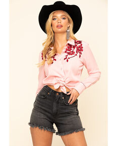 White Label by Panhandle Women's Pink Embroidered Long Sleeve Western Shirt , Pink, hi-res