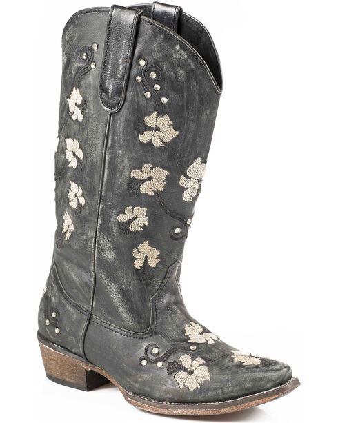 Roper Women's Floral Embroidery Cowgirl Boots - Snip Toe, Black, hi-res