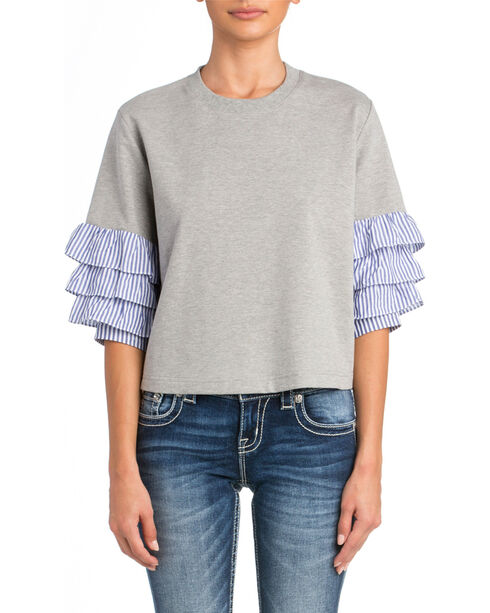 Miss Me Women's Grey Ruffle Heathered Sweatshirt , Grey, hi-res
