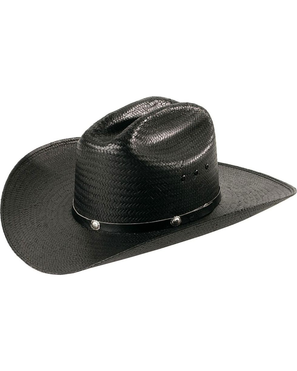 Cattleman Straw Cowboy Hat, Black, hi-res