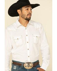 Wrangler Retro Premium Men's White Solid Long Sleeve Western Shirt , White, hi-res