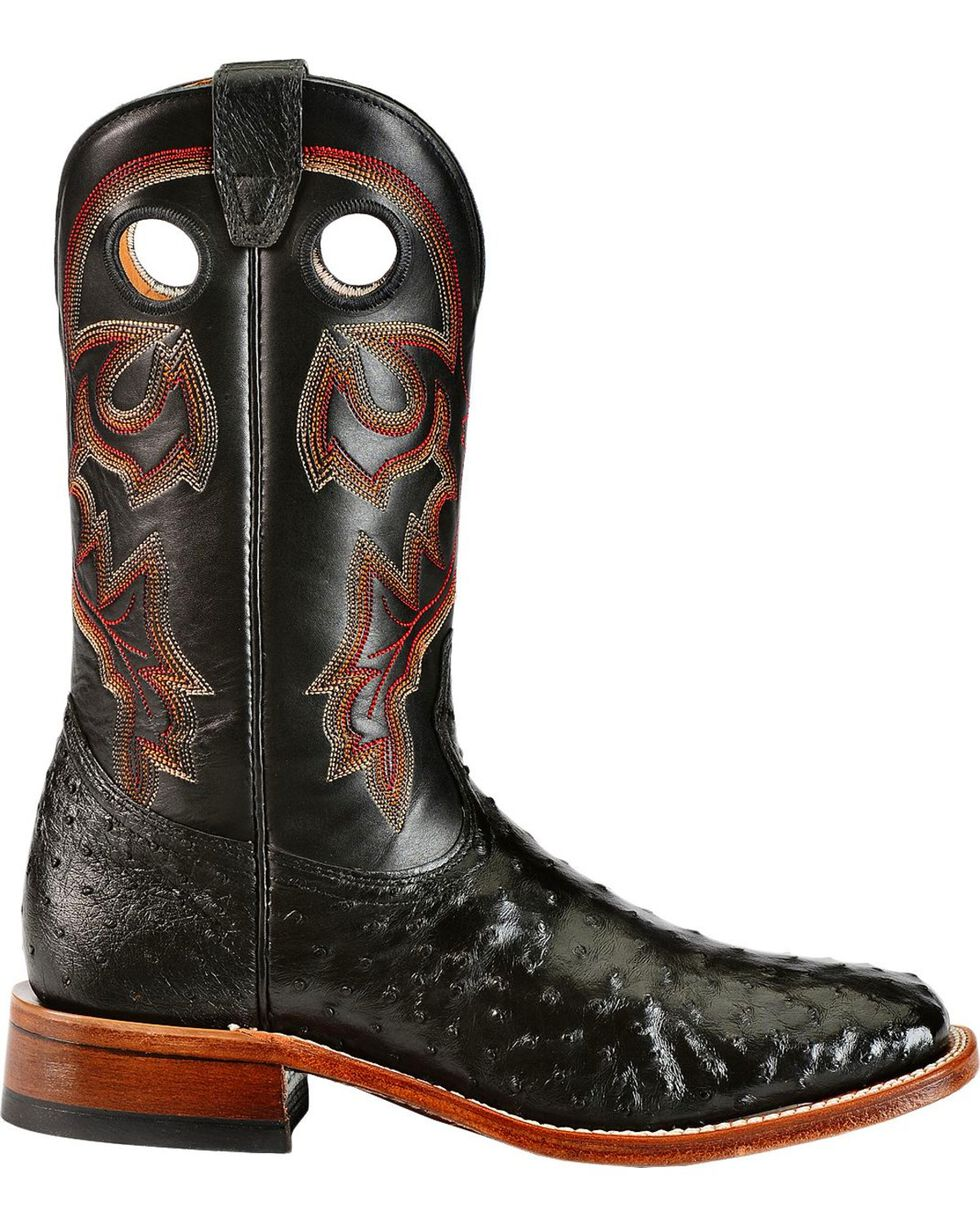 Boulet Full Quill Ostrich Cowboy Boots - Wide Square Toe, Black, hi-res