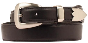 Double Barrel Three Piece Buckle Set Basic Leather Belt, Black, hi-res