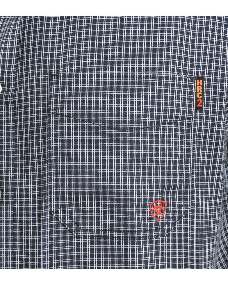 Ariat Men's Flame-Resistant Navy Check Long Sleeve Work Shirt, Blue, hi-res