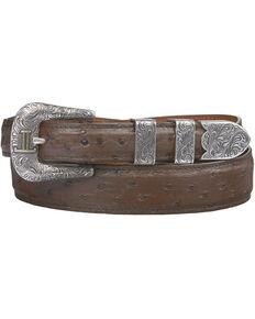 Lucchese Men's Sienna Full Quill Ostrich Leather Belt, Sienna, hi-res