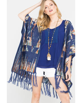 Shyanne Women's Dakota Knit Poncho, Blue, hi-res