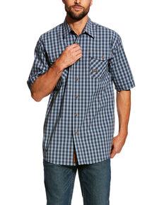 Ariat Men's Load Plaid Rebar Made Tough Short Sleeve Work Shirt - Tall , Multi, hi-res
