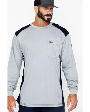 Cinch WRX Men's Grey Long Sleeve FR Raglan Shirt, Grey, hi-res