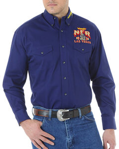 Wrangler Men's NFR Embroidered Long Sleeve Shirt - Tall, Navy, hi-res