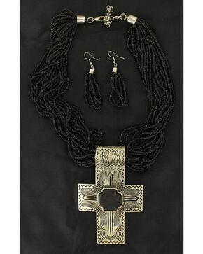 Blazin Roxx Cross Pendant Beaded Necklace & Earrings Set, Black, hi-res
