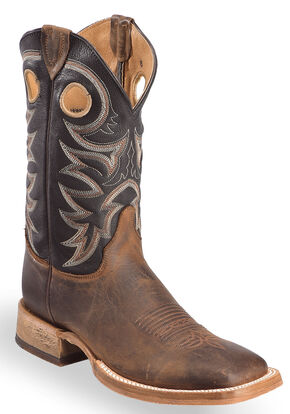 Justin Men's Bent Rail Cowboy Boots - Square Toe, Tobacco, hi-res