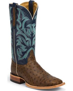 Justin AQHA Remuda Full Quill Ostrich Cowboy Boots - Square Toe , Tan, hi-res